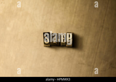STEP - close-up of grungy vintage typeset word on metal backdrop. Royalty free stock illustration.  Can be used - Stock Photo