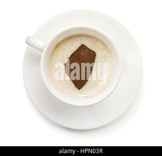 A cup of coffee with foam and powder in the shape of Swaziland.(series) - Stock Photo