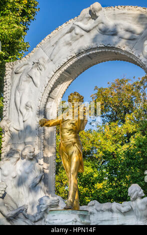 Austria, Vienna, Stadtpark (City Park), the giled bronze monument of Johann Strauß II with marble relief - Stock Photo