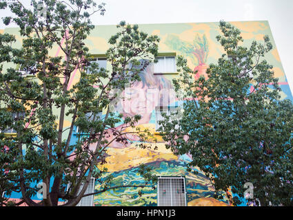 Health centre painted with large health promoting murals to encourage exercise and a healthy diet. Santa Cruz de - Stock Photo