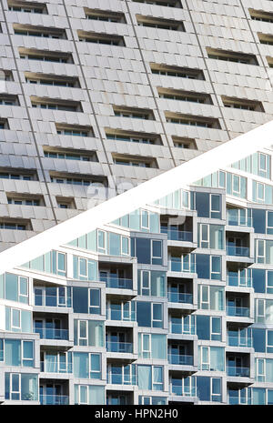 Facade details with windows nd terraces. VI› 57, New York, United States. Architect: BIG Bjarke Ingels Group, 2016. - Stock Photo
