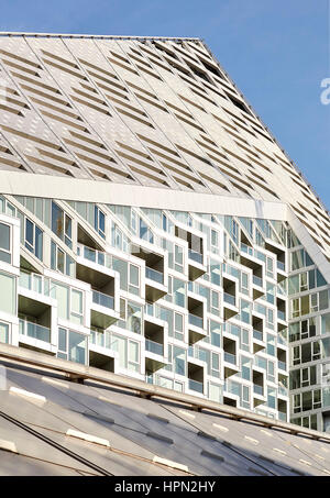 Facade details with void of residential courtyard. VI› 57, New York, United States. Architect: BIG Bjarke Ingels - Stock Photo
