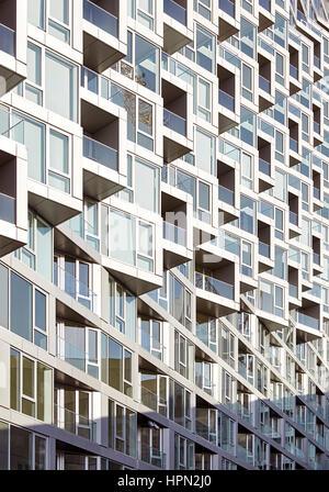 Facade details. VI› 57, New York, United States. Architect: BIG Bjarke Ingels Group, 2016. - Stock Photo