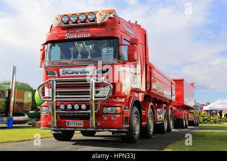 ALAHARMA, FINLAND - AUGUST 12, 2016: Scania R620 year 2014 truck and gravel trailers of Maanrakennus Sivenius Oy - Stock Photo