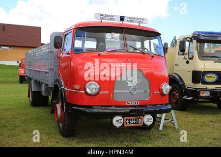 ALAHARMA, FINLAND - AUGUST 12, 2016: Rare Wilke oldtimer truck year 1964 of Carl-Johan Blomqvist on Power Truck - Stock Photo