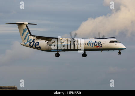 Flybe Bombardier Dash-8 Q400 landing at Southampton Airport - Stock Photo