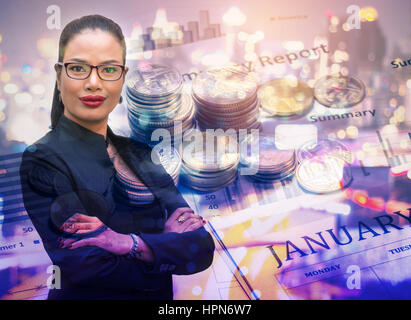 Double exposure businesswoman with money,business concept - Stock Photo