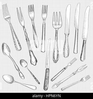 Table setting set. Fork Knife Spoon sketch set. Cutlery hand drawing collection  sc 1 st  Alamy & Table setting tableware. Cutlery set of fork spoon and knife ...