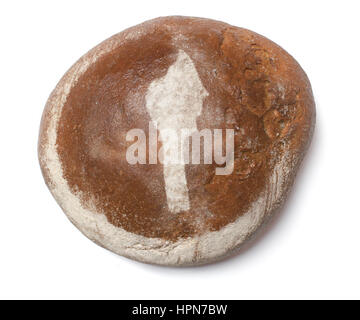 A freshly baked loaf of bread covered with rye flour in the shape of Benin.(series) - Stock Photo