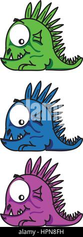 Little funny  and smiling dragons in three different colors - Stock Photo