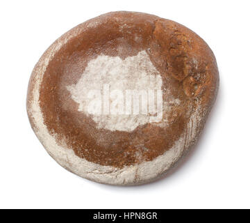 A freshly baked loaf of bread covered with rye flour in the shape of Romania.(series) - Stock Photo
