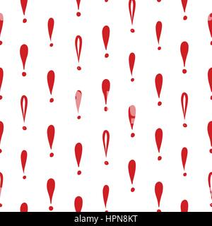 Abstract symbol white ornament.  Exclamation mark seamless pattern. Sign background - Stock Photo