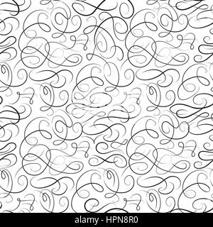 Abstract swirl line pattern. Calligraphic draw  seamless background. Vignette chaotic line monochrome ornamental - Stock Photo