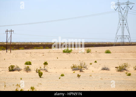 Winterhaven, California, USA - May 26, 2015: Fence in the desert at the U.S.-Mexico border. - Stock Photo