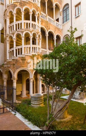 The Scala Contarini del Bovolo is a multi-arch external staircase built for the Contarini family - Stock Photo