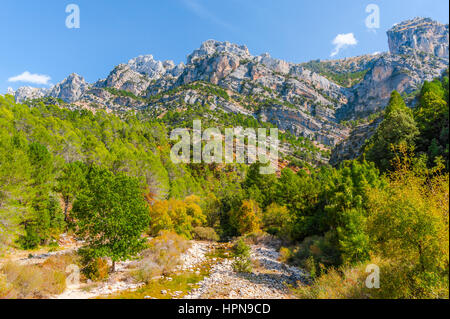 river Borosa and the mountain landscape in the Nature Park Sierra de Cazorla, Andalusia, Spain - Stock Photo