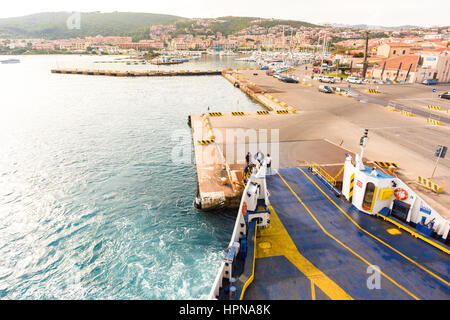 View The harbour of Palau from ferry boat, northern Sardinia,Italy - Stock Photo