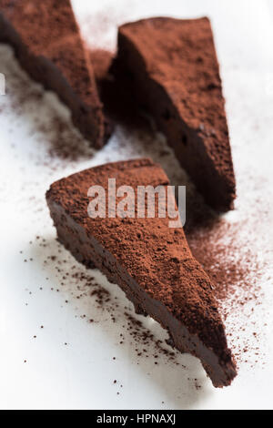 Slice of Chocolate Cake without flour - Stock Photo