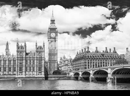 Big Ben is the nickname for the great bell of the clock at the north end of the Palace of Westminster in London. Stock Photo