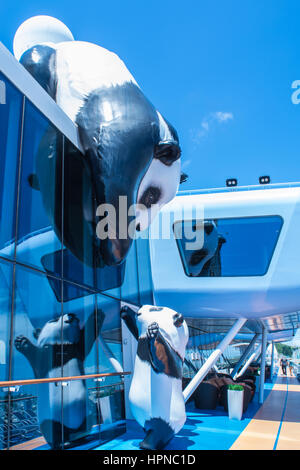Mother Panda and Baby art on Ovation of the Seas - Stock Photo