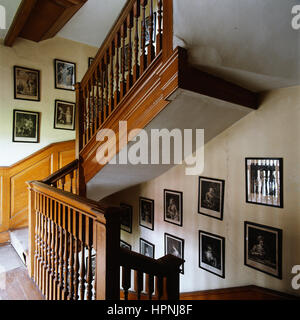 A staircase with photographs. - Stock Photo
