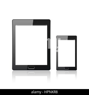 Modern digital tablet PC with mobile smartphone isolated  on the white. Molecule and communication background. Vector - Stock Photo