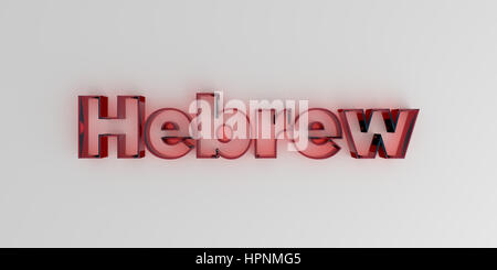 Hebrew - Red glass text on white background - 3D rendered royalty free stock image. - Stock Photo