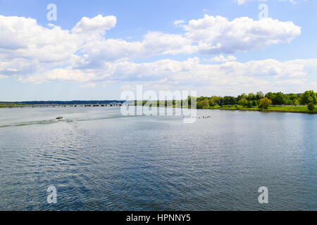Washington DC, USA - May 2, 2015: The Potomac River in Washington DC with some canoes and boats and the 14th Street - Stock Photo