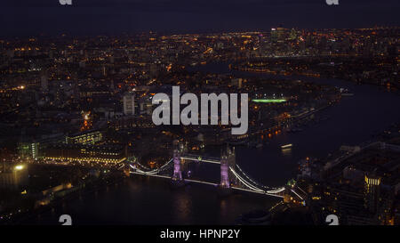 Aerial view of the Tower Bridge, LONDON, ENGLAND - Stock Photo