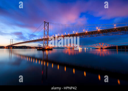 Forth Road And Rail Bridge Southqueensferry - Stock Photo