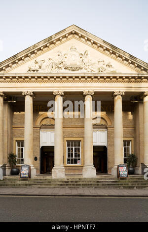 Portico entrance at the Corn Exchange Bury St Edmunds refurbished by and trading as a Wetherspoon Pub. Unsharpened - Stock Photo