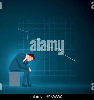 Business concept illustration. Sad businessman is sitting. Falling chart on the blue background. Elements are layered - Stock Photo