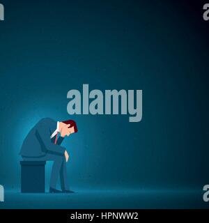 Business concept illustration. Sad businessman is sitting. Elements are layered separately in vector file. - Stock Photo