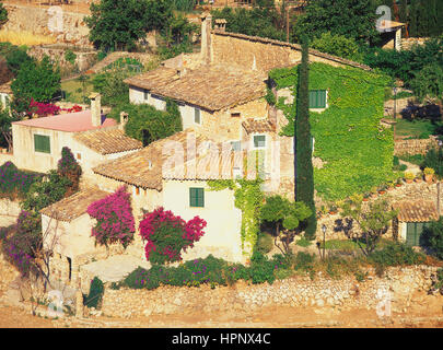 Village of Valldemosa on Mallorca Island hillside, Mallorca. Balearic Islands, Spain - Stock Photo