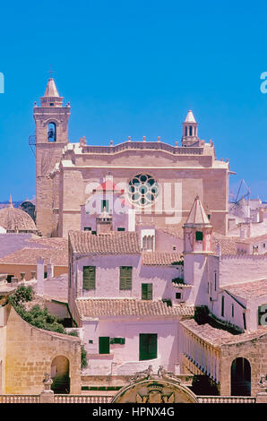 Old centre and cathedral, Ciutadella, Minorca, Balearic Islands, Spain, Europe - Stock Photo