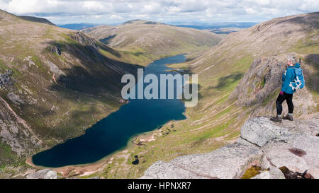 View over Loch Avon from Shelter Stone Crag on Carn Etchachan at the head of Glen Avon in the Cairngorms National - Stock Photo