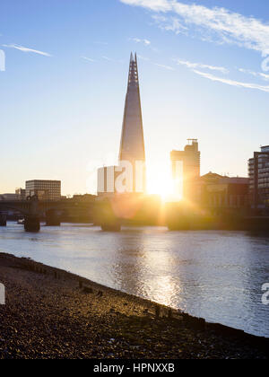 Sunrise over River Thames with view of the Shard, London, UK - Stock Photo