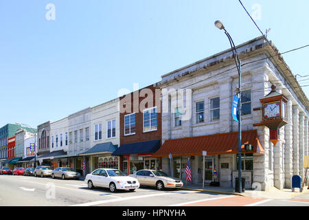 Mount Airy, NC, USA - May 5, 2015: The Greater Mount Airy Chamber of Commerce building on the corner of Main Street - Stock Photo