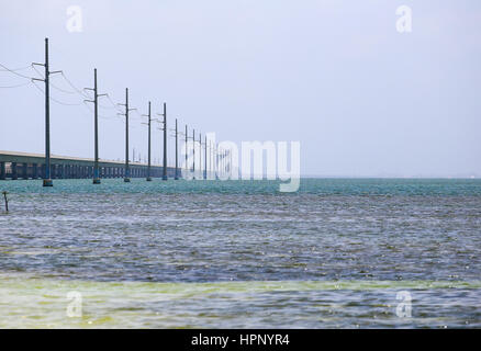 The Seven Mile Bridge in the Florida Keys connecting Knights Key to Little Duck Key. - Stock Photo