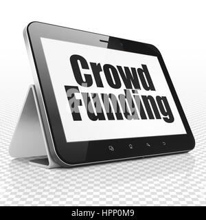 Business concept: Tablet Computer with Crowd Funding on display - Stock Photo