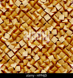 abstract background made of diagonal arranged cubes in shades of brown with grunge (seamless 3d illustration) - Stock Photo