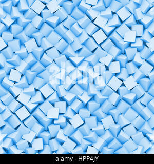 seamless background made of diagonal arranged cubes in shades of blue (3d illustration) - Stock Photo