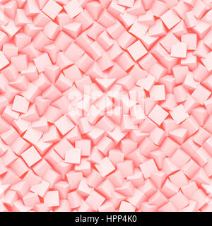 seamless background made of diagonal arranged cubes in shades of pink (3d illustration) - Stock Photo