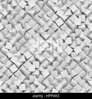 seamless background made of diagonal arranged cubes in shades of white (abstract 3d illustration) - Stock Photo