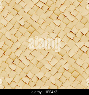 abstract background made of diagonal arranged cubes in shades of beige (seamless 3d illustration) - Stock Photo