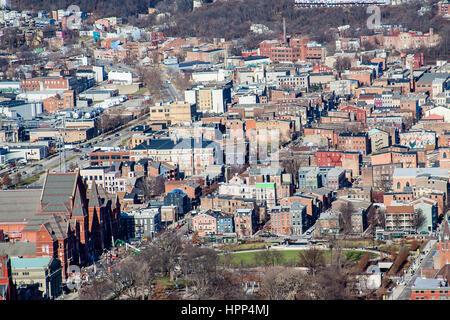 View of Cincinnati looking North from the Carew Tower - Stock Photo