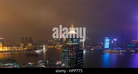 Shanghai,China - on December 20, 2016 ,The  Bund,  commercial street scene at dusk,The Beach  is one of the most - Stock Photo