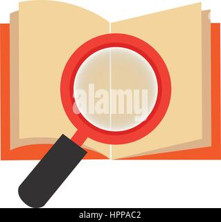textbook with magnifying glass library isolated icon Stock Photo