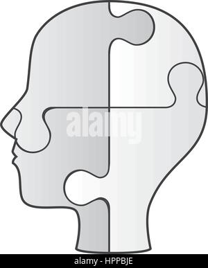 profile human with puzzle game pieces isolated icon