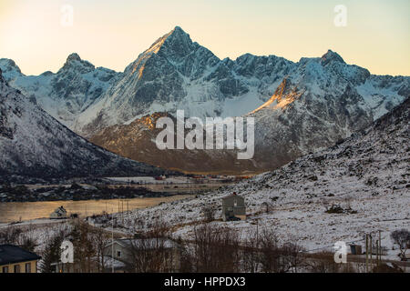 sunrise, Napp village, Lofoten Islands, Norway, Europe - Stock Photo